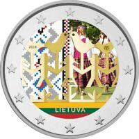 2 Euro Gedenkmünze Litauen 2018 Tanzfestival coloriert mit Farbe / Farbmünze