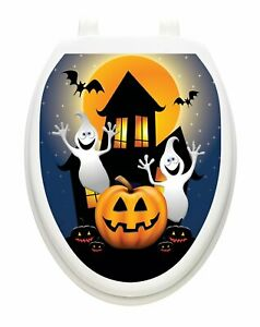 Toilet Tattoos Halloween Ghost House  Vinyl Removable Halloween Lid Decor