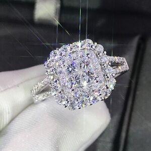 925 Silver Jewelry Gift Ring Elegant Women White Sapphire Wedding Rings Sz 6-10