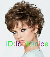 Fashion wig New sexy Women's short Dark Brown Curly Natural Hair wigs + wig cap