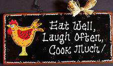 ROOSTER SIGN Eat Well Laugh Often Cook Much KITCHEN WALL PLAQUE Chicken Decor