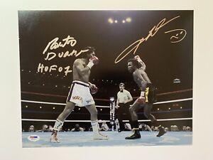Sugar Ray Leonard and Roberto Duran dual autographed 11x14 photo boxing PSA
