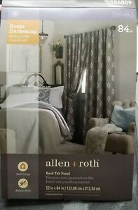 "Allen + Roth 84"" Helina darkening Curtain Set Back Tab Panel Thermal Gray IKAT"