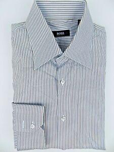 Men's Hugo Boss Casual Dress Shirt Blue/brown Size-16/41