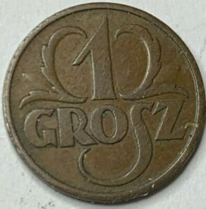 1936 Poland 1 GROSZ coin H.GRADE  condition!!NO RESERVE!! !!!! !!(R5B5)
