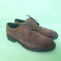 POLLINI Mens Shoes UK 10 EU 44 Brown Suede Leather Oxford Brogues Non Slip Italy