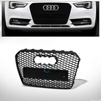 Fits 13-16 Audi A5/S5 B8.5 Matte Blk RS-Honeycomb Mesh Front Bumper Grill Grille