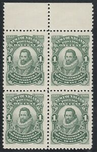 Newfoundland #87 Mint Never Hinged Very Fine Top Margin Block of 4