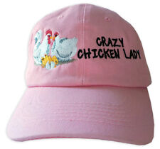 Crazy Chicken Lady Embroidered Baseball Cap Pink