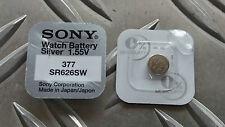 2 Sony Knopfzellen SR626SW ENDDATUM 2021 V377 SR66 377 Uhrenbatterien Batterien