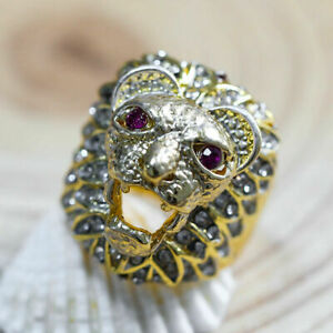 Fashion Women Jewelry Yellow Gold Lion Head White Sapphire Ring Wedding Size 11