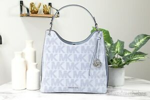 Michael Kors Joan Large Pale Blue Perforated Suede Leather Slouchy Shoulder Bag