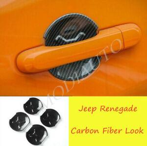 For 2016-2019 2020 Jeep Renegade Carbon Fiber abs Car Door Bowl Cover Trim 4PCS