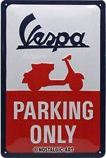 Vespa Parking Only embossed metal sign  300mm x 200mm (na)