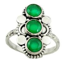 925 Sterling Silver Natural Colombian Emerald Round Ring Special Gift Sale