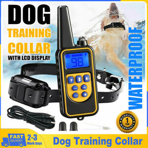 Dog Pet Training Collar Rechargeable Waterproof Electric Shock Anti Bark R800m