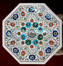 """14"""" White Marble Coffee Center Side Top Table Multi Floral Stone Inlay Art Decor"""
