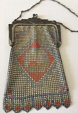 Whiting Davis Mesh Vintage Bag Enamel Art Deco Handbag Purse Antique Chain