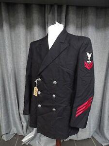 Vintage US Navy Dress Jacket Naval Aviation Uniform Winter Coat Enlisted Rank