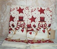 Snowman Kitchen Towels Holiday Christmas 2 Red + White