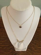 Altar'd State Double Gold Chain Necklace With White Feather Accents - NWOT