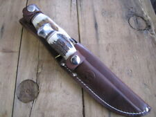 Kissing Crane Two Fixed Blade Knifes with Original Brown Leather Sheath
