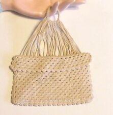 Antique Crocheted Miser Purse Pouch 1800'S Authentic Original Old Piece Ecru