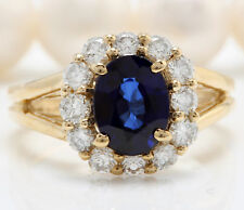 2.80 Carat Natural Sapphire and Diamonds in 14K Solid Yellow Gold Women's Ring