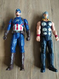 """Hasbro Avengers 12"""" Figures. Thor and Talking Captain America . Good Condition"""