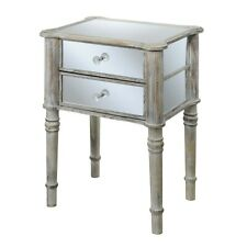 Convenience Concepts Gold Coast Mayfair End Table, White/Mirror - 413745WW