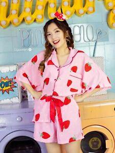 Kawaii Strawberry Pajamas Set