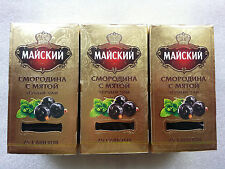 Tea black Mayskiy Black Currant with mint 25 bags x 3 boxes