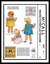 McCall 1421 Sewing Pattern Twin Girl's SMOCKED BOW DRESS FROCK Toddler ~1~ 40's