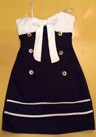 Rockabilly Blau weißes Matrosen Sailer Kleid Sommer Gr. S-M