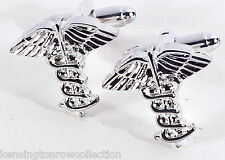 "Mens Gifts - ""Caduceus"" Cuff Links - Medical Profession Cufflinks - Mens Jewelry"