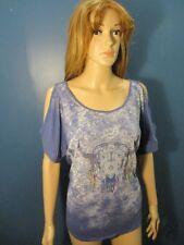 XL blue SLIT SLEEVE ANIMAL SKULL PSYCHADELIC blouse by MUDD