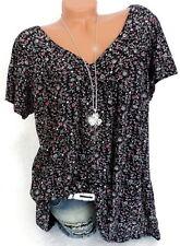 Damen Shirt Tunika Longshirt Bluse Blümchen Millefleur Italy Übergröße 46 48 50