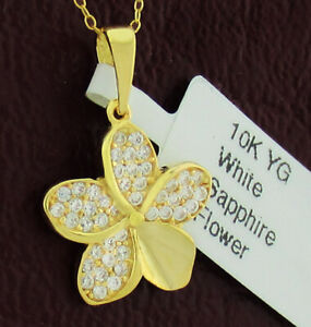 FLOWER WHITE SAPPHIRES PENDANT 10K GOLD *** New With Tag ***