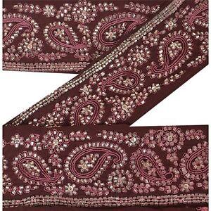 Sanskriti Vintage Sari Border Craft Brown Trim Hand Beaded Glass Beads Lace
