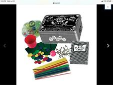 Westminster 5 Classic Games in A Tin.Jacks-Marbles-Tiddlywinks-Cards-Pkup Sticks