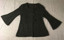 Heather B Brand 3/4 Flare Sleeve Gray Button Up Knit Sweater Women's M Medium