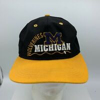 VTG 90's Michigan Wolverines #1 Apparel Drawstring Tie Back Hat Made in USA