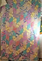 "Vintage Hand Pieced Quilt Scrappy Feed Sack Fabric Diamond Patches 80"" x 56"" Cot"