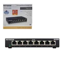 NETGEAR GS308 Network Switch 8PortGigabit Ethernet Hub Desktop Internet Splitter