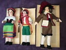 3 Italian Masked Face Dolls In Provincial Costumes Mint with Boxes, 1960's Tags
