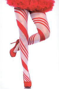 Candy Cane Sheer Pantyhose Holiday Striped One Size Red & White Leg Avenue 7944