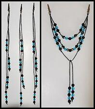 Wow! Horse Tail / Mane Beads Bling, Arabian, Aqha, Friesian, etc. Black / Turq