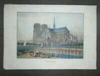 "ANTIQUE ORIGINAL LITHOGRAPH PRINT FRANCE NOTRE DAME 13 5/8"" X 19 3/4"""