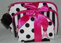 Nicole's Boutique 3 Piece Set Dome Cosmetic Bags Black White Pink Polka Dot NWT