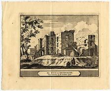 3 Antique Prints-SANTPOORT-BREDERODE-BLOEMENDAAL-RUIN-Schijnvoet-Roghman-1754